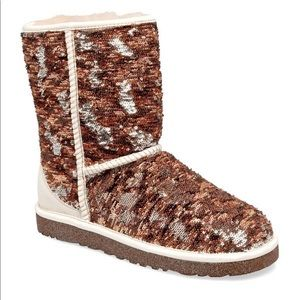 Cream Sequin Ugg Boots